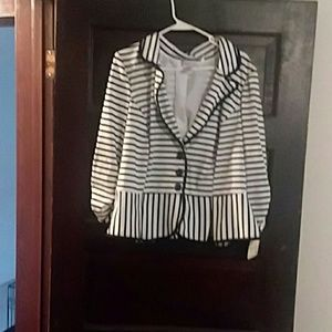 NWT Black and White Stripe Jacket